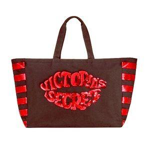 Victoria's Secret Black & Red Sequin Lips Bag